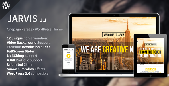 Live Preview of Jarvis - Onepage Parallax WordPress Theme