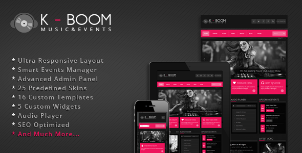 Live Preview of K-BOOM - Responsive Events & Music WordPress Theme
