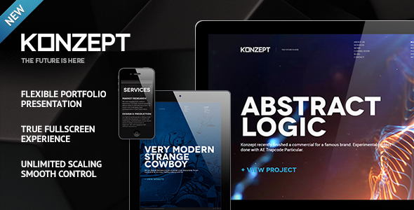 Live Preview of Konzept - Fullscreen Portfolio WordPress Theme