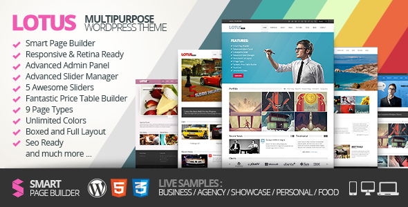 Live Preview of Lotus, Flexible Multipurpose & Responsive WP Theme