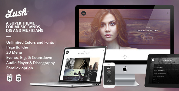 Live Preview of Lush - Music Band & Musician WordPress Theme