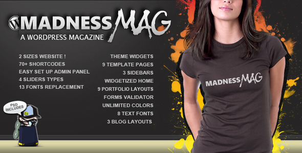 Live Preview of Madness Magazine Wordpress
