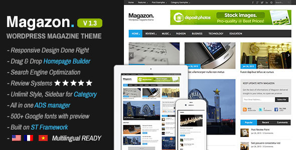 Live Preview of Magazon - Advanced, Responsive WP Magazine Theme