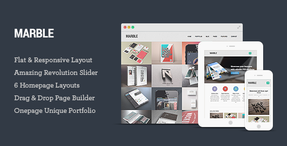 Live Preview of Marble - Flat Responsive Creative WordPress Theme