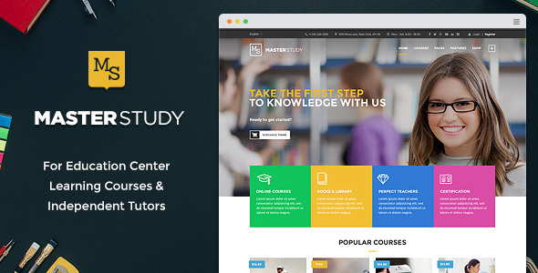 Live Preview of Masterstudy - Education Center WordPress Thème