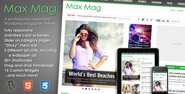 Live Preview of Max Mag - Responsive Wordpress Magazine Theme