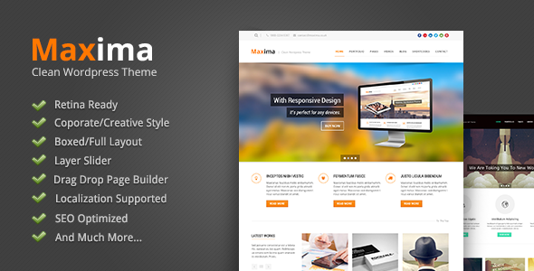 Live Preview of Maxima - Retina Ready Wordpress Theme