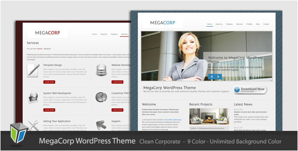 Live Preview of MegaCorp - Corporate Business WordPress Theme