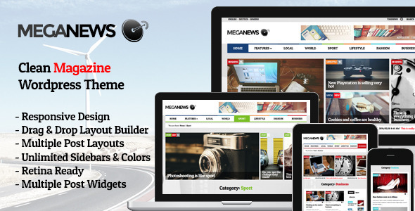 Live Preview of Meganews - Magazine Responsive Wordpress Theme