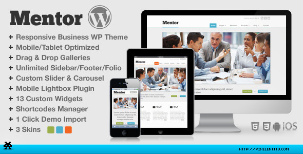 Live Preview of Mentor - Premium Responsive HTML5 WordPress Theme