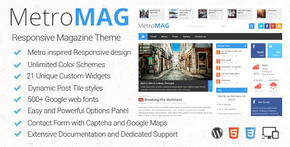 Live Preview of Metro Magazine Responsive WordPress Theme