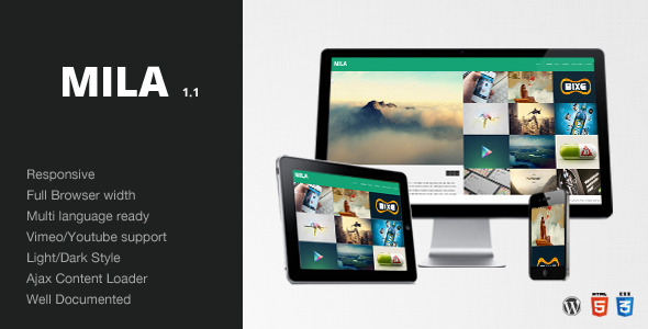 Live Preview of Mila - Ajax Portfolio Theme - Wordpress