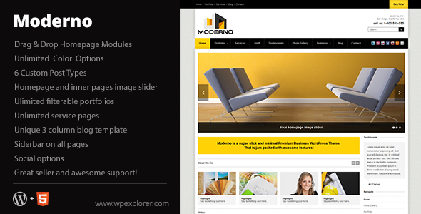 Live Preview of Moderno Corporate WordPress Theme