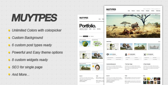 Live Preview of Mu Types - Clean Business WordPress Theme