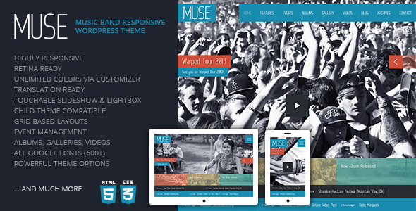 Live Preview of Muse: Music Band Responsive WordPress Theme