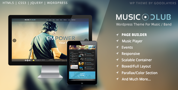 Live Preview of Music Club - Music/Band/Club/Party Wordpress Theme