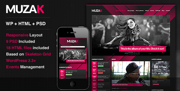 Live Preview of Muzak - Music Premium WordPress theme