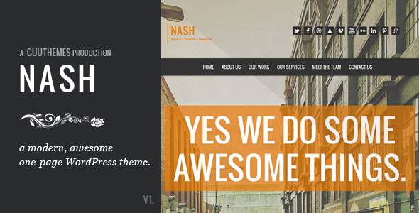 Live Preview of NASH - Responsive HTML5 One Page WordPress Theme