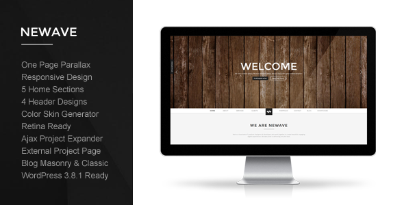 Live Preview of Newave - Wordpress Responsive One Page Parallax