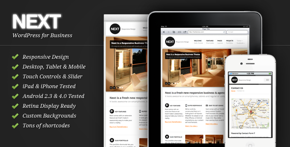 Live Preview of Next - Responsive Business WordPress Theme
