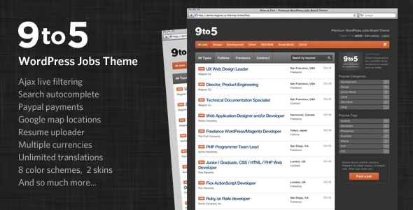 Live Preview of Nine to Five - Premium WordPress Jobs Theme