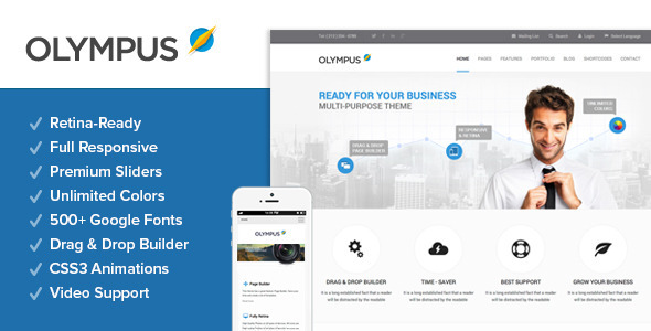 Live Preview of Olympus - Responsive Multi-Purpose Wordpress Theme