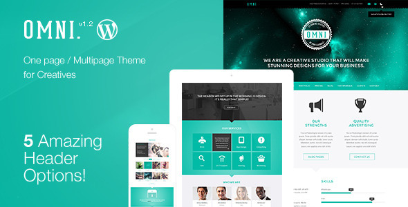 Live Preview of Omni - Onepage / Multipage WordPress Parallax Flat