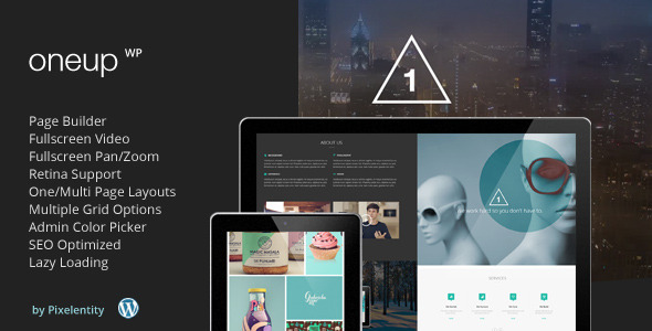 Live Preview of OneUp - One Page Parallax Retina WordPress Theme