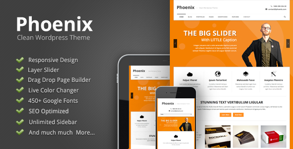 Live Preview of Phoenix - Clean Responsive Wordpress Theme