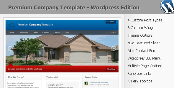 Live Preview of Premium Company Template - Wordpress 3.0