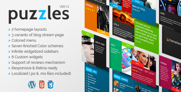 Live Preview of Puzzles | WordPress Magazine/Review Theme