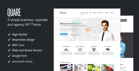 Live Preview of Quare - Responsive Multi-Purpose Theme