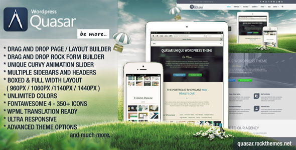 Live Preview of Quasar - Wordpress Theme with Animation Builder