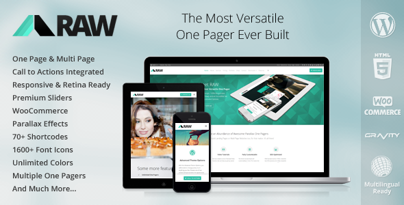 Live Preview of RAW - One Page multiuso WordPress Theme