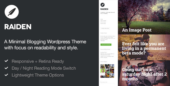 Live Preview of Raiden — A Minimal Wordpress Theme with Style