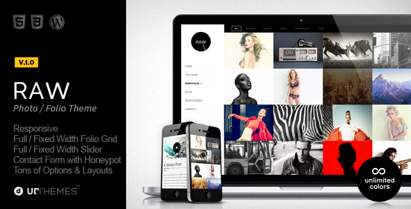 Live Preview of Raw - Responsive Photography WordPress Theme