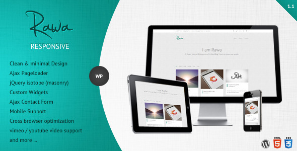 Live Preview of Rawa - Clean / Responsive / Minimal / Wordpress