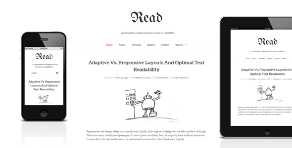 Live Preview of Read WP - Responsive HTML5 Minimalist Theme