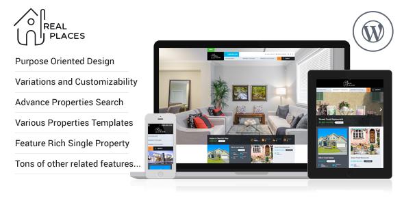 Live Preview of Lieux réels - WordPress Thème Responsive Immobilier