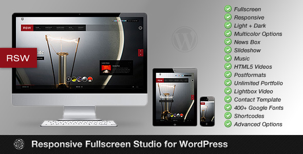 Live Preview of Responsive Fullscreen Studio for WordPress
