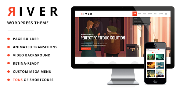 Live Preview of River - Retina Multi-Purpose WordPress Theme