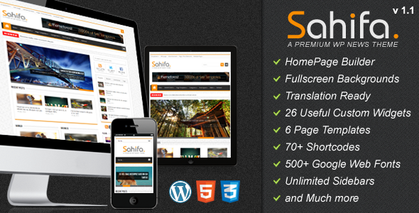 Live Preview of Sahifa - Responsive WordPress News,Magazine,Blog