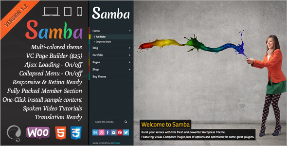 Live Preview of Samba - Colored Wordpress Theme