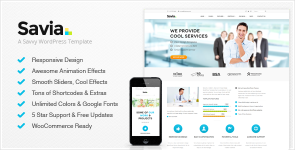 Live Preview of Savia - Responsive Multi-Purpose Tema Wordpress