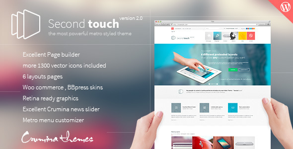 Live Preview of Second Touch — Powerful metro styled theme