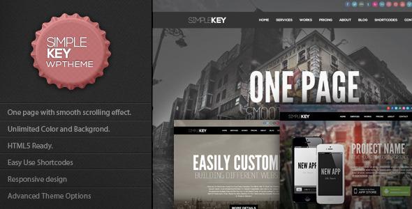 Live Preview of SimpleKey - One Page Portfolio WordPress Theme