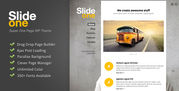 Live Preview of Slide One - One Page Parallax, Ajax WP Theme
