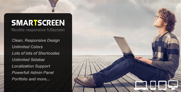 Live Preview of SmartScreen fullscreen responsive Wordpress theme