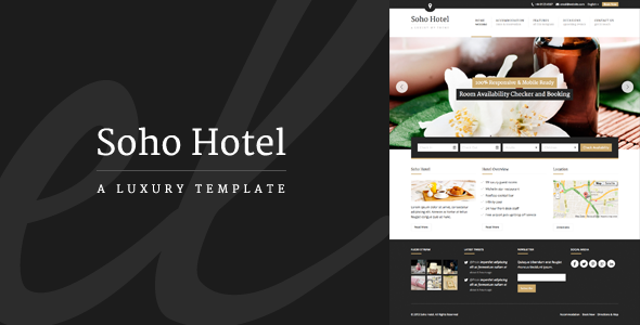 Live Preview of Soho Hotel - Responsive Hotel Booking WP Theme