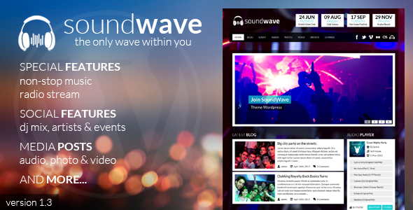 Live Preview of SoundWave - The Music Vibe WordPress Theme